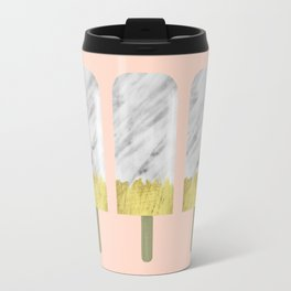 Carrara Italian Marble with Gold Popsicle Travel Mug