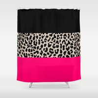 the national Shower Curtains featuring Leopard National Flag IV by M Studio