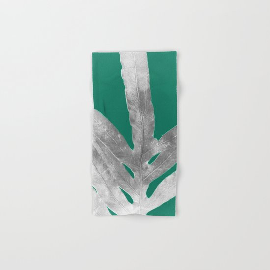Christmas Fern, Holiday Green with Silver Winter Leaf Hand & Bath Towel