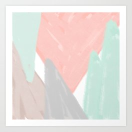 Soft angles - coral and mint abstract Art Print