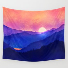 Cobalt Mountains Wall Tapestry