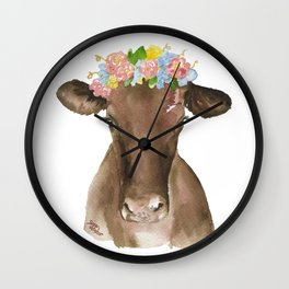 Brown Cow with Floral Wreath Wall Clock
