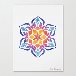 Snowflake - Blue and Yellow Canvas Print