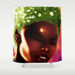 Girl with Blossoming Hair Shower Curtain