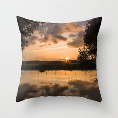 Last light over the lake Throw Pillow