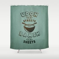 ramen Shower Curtains featuring Udon in the Streets, Ramen in the Sheets. by MattBlanksArt