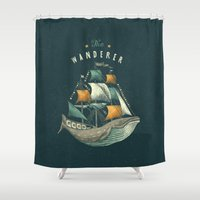 clockwork orange Shower Curtains featuring Whale | Petrol Grey by Seaside Spirit
