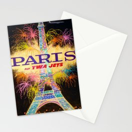 Vintage Paris, France Fly TWA Jet Airlines Lithograph Advertisement Poster Stationery Cards