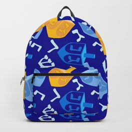 Hanukkah Contemporary Dreidel Pattern in Blue and Gold Backpack