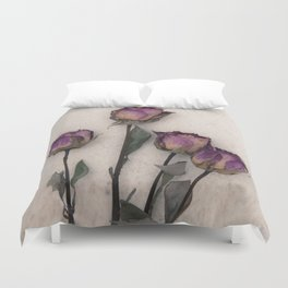 four dried roses Duvet Cover