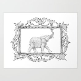 grey frame with elephant Art Print