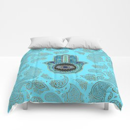 Hamsa Hand Hand of Fatima with paisley background Comforters