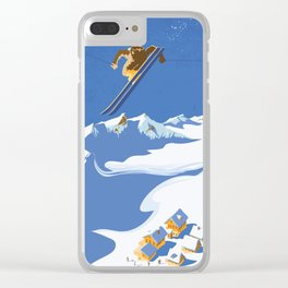 Retro Sky Skier Clear iPhone Case