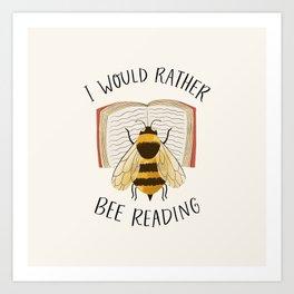 Happy Bee Reading a Book Art Print