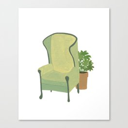 Green armchair with plant Canvas Print