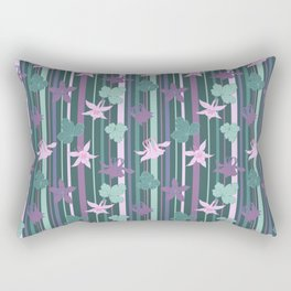 Aquilegia and stripes Rectangular Pillow