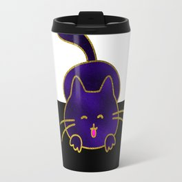 Cute Happy Purple Stained Glass Cat Travel Mug