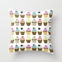cupcakes Throw Pillows featuring Cupcakes by heartlocked