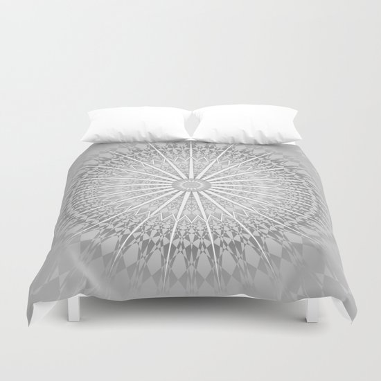Gray Mandala Medallion Duvet Cover