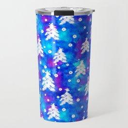 Watercolor Seamless pattern with hand drawn snowflakes and christmas tree . Travel Mug