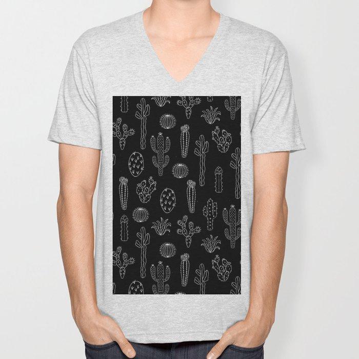 Cactus Silhouette White And Black Unisex V-Neck