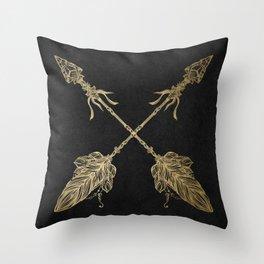 Gold Arrows on Black Throw Pillow