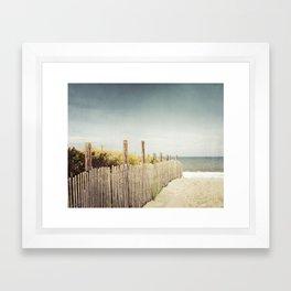 Beach Fence Photography, Blue Brown Coastal Photo, Seashore Dune Sand, Ocean Seaside Framed Art Print