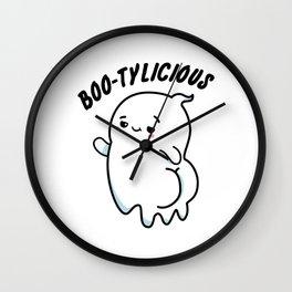 Boo-tylicious Cute Halloween Ghost Pun Wall Clock
