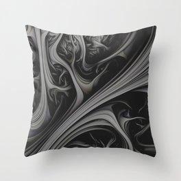 Charcoal Churn. 3d Abstract Art Throw Pillow