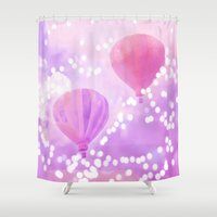 hot air balloons Shower Curtains featuring Carnival Hot Air Balloons by Kathy Fornal