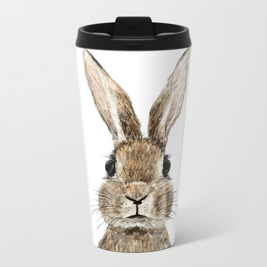 cute innocent rabbit Metal Travel Mug