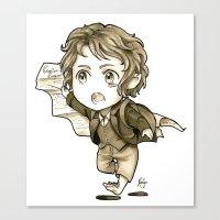 chibi Canvas Prints featuring Chibi Bilbo by KuroCyou