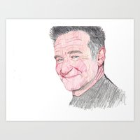 robin williams Art Prints featuring Robin Williams by carlos navarro