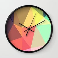 geometry Wall Clocks featuring peace by contemporary