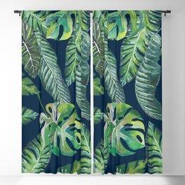 Jungle Leaves, Banana, Monstera, Blue Blackout Curtain