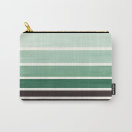 Deep Green Minimalist Watercolor Mid Century Staggered Stripes Rothko Color Block Geometric Art Carry-All Pouch