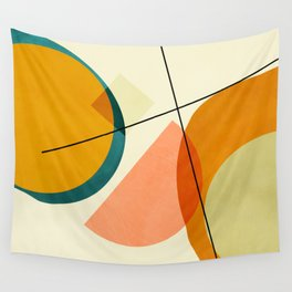 mid century geometric shapes painted abstract III Wall Tapestry