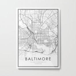 Baltimore City Map United States White and Black Metal Print