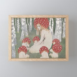MOTHER MUSHROOM WITH HER CHILDREN - EDWARD OKUN Framed Mini Art Print