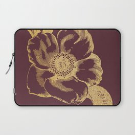 Gold flower on tawny port Laptop Sleeve