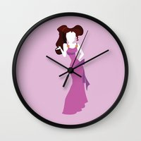 hercules Wall Clocks featuring Megara from Hercules Disney Princess by Alice Wieckowska