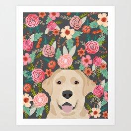 Yellow Lab dog portrait labrador retriever dog art pet friendly florals floral Art Print
