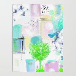 Peinture  tons pastels chat oiseau maisons arbre bulles Poster
