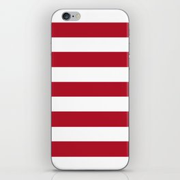 Wine red - solid color - white stripes pattern iPhone Skin