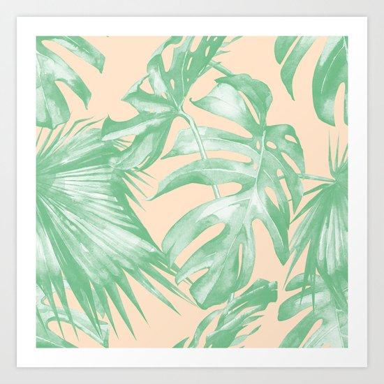 Tropical Leaves Palm Green on Citrus Art Print