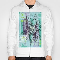Teal Flower Hoody