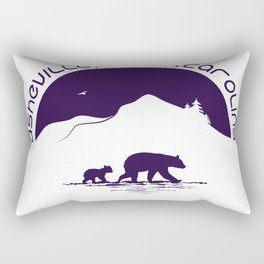 Asheville - Mountains & Black Bears - AVL 11 Purple on White Rectangular Pillow