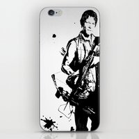 daryl dixon iPhone & iPod Skins featuring Daryl Dixon by Black And White Store