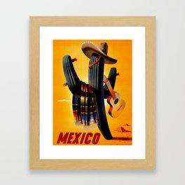 Vintage Mexico Cactus Travel Framed Art Print