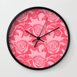 Large Floral Pink Roses Wall Clock